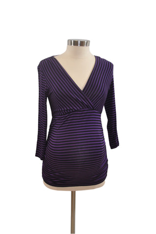 Purple & Black Stripe Long Sleeve Top by Motherhood *New With Tags*