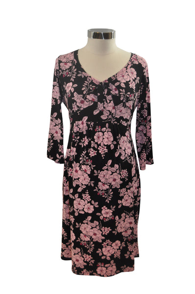 Black & Pink Elbow Sleeve Dress by Motherhood