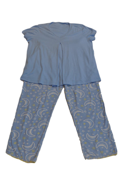 Blue Short Sleeve Nursing Pajama Set by Motherhood
