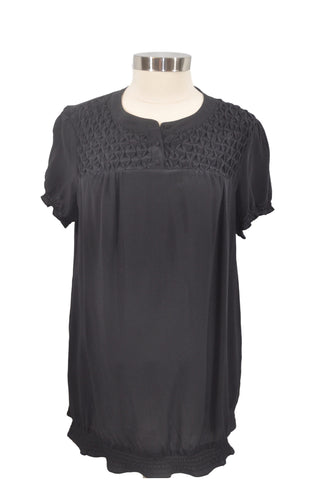 Black Short Sleeve Silk Blouse by A Pea In The Pod*