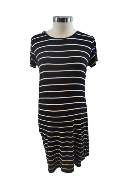 Black Stripe Short Sleeve Casual Dress by Liz Lange