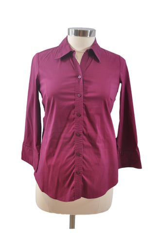 Maroon Long Sleeve Collar Shirt by Old Navy