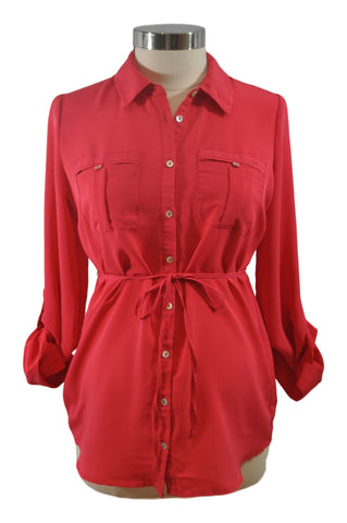 Red Long Sleeve Blouse by OH BABY!