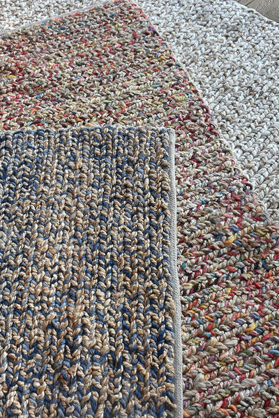 roslyn hemp rug in blue and natural color