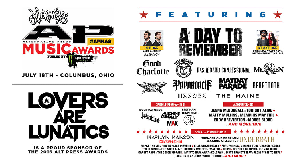 Alt Press Awards 2016 APMAS Lovers Are Lunatics Papa Roach Jacoby Shaddix Alternative Press