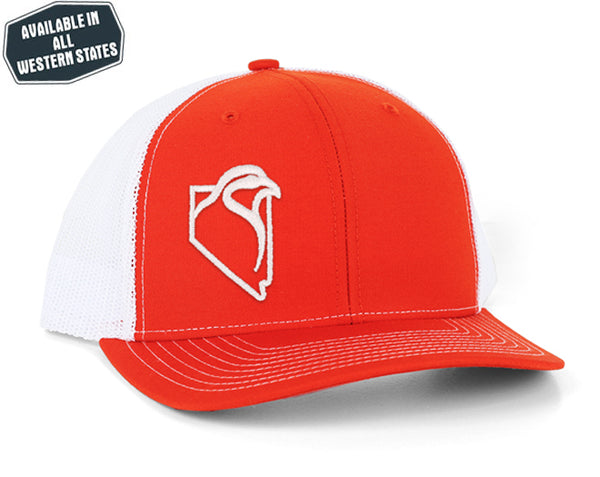 The Chukar Chaser Snapback- Orange/White - White Embroidery