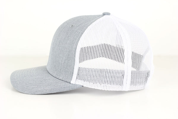 The Chukar Chaser Snapback- Heathered Grey/White - Navy Embroidery