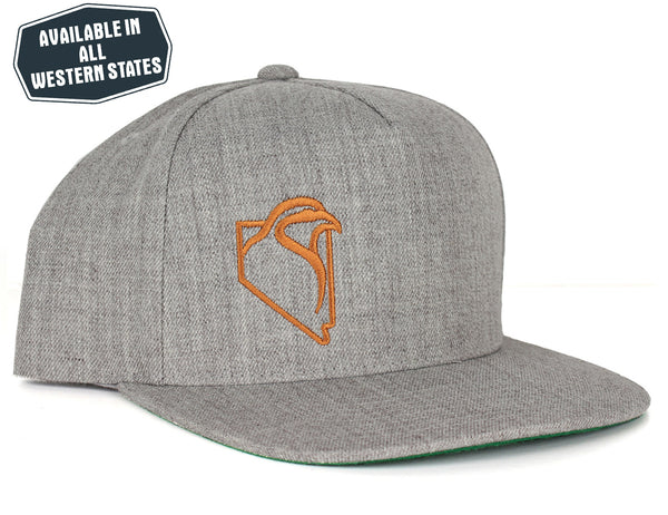 Heather Grey Wool Snapback - Copper Embroidery