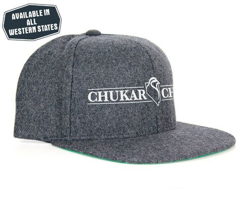 Dark Grey Wool Snapback - White Vinyl