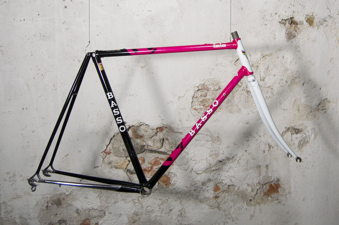 One of the most beautiful steel frames from Italy: Basso Loto black-pink-white