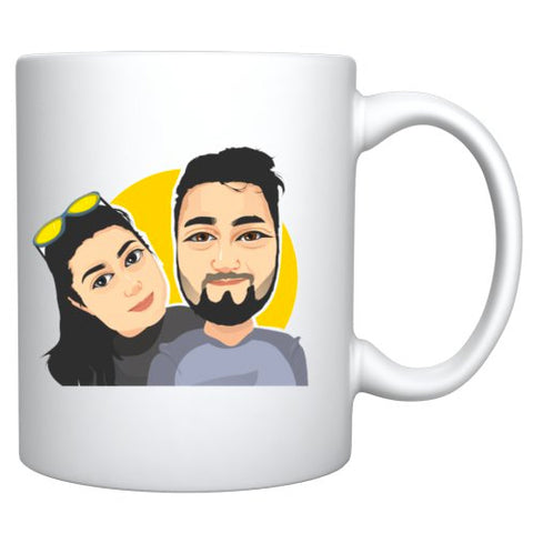 Couple Headshot Cartoon Caricature Style Mug