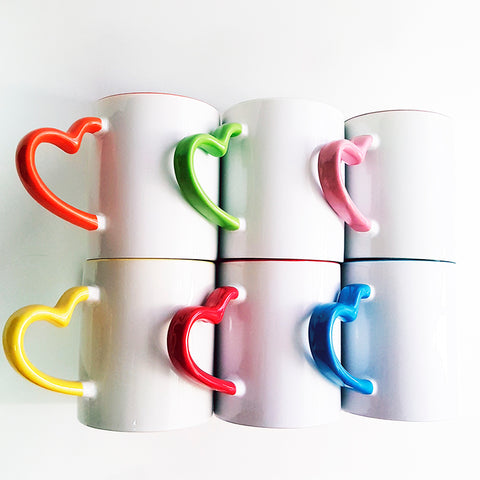 Heart Handle Colored Rim Mug