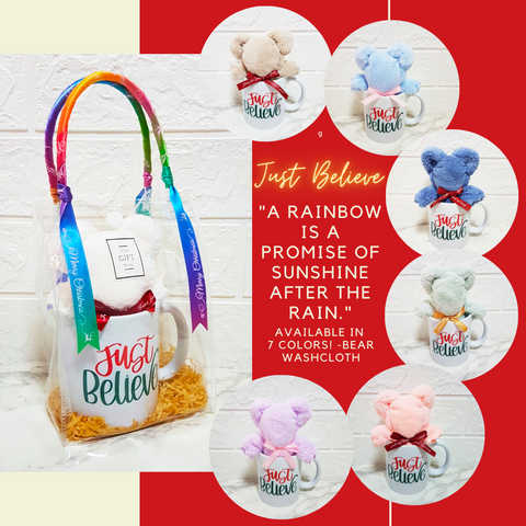 "Special Christmas Edition - Just Believe ""A rainbow is a promise of sunshine after the rain."" Mug Gift Set"