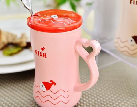 Fish Mug with Cover & Spoon Set