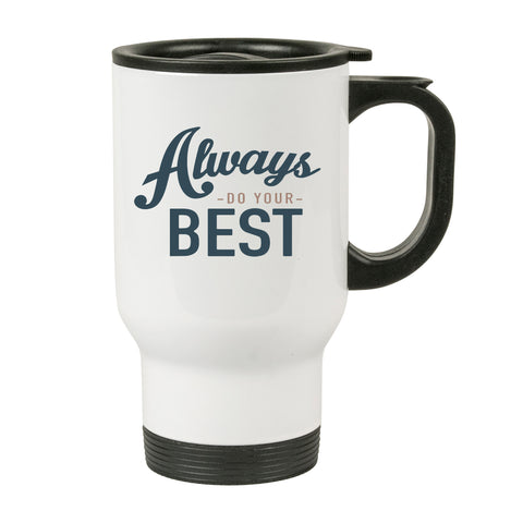 14oz Stainless Steel White Travel Mug