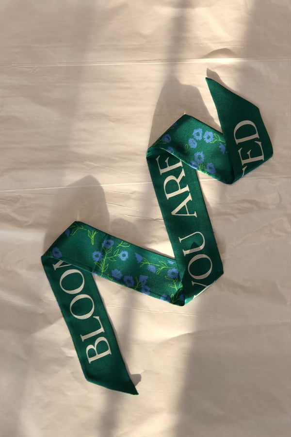 Green Bloom Hair Scarf