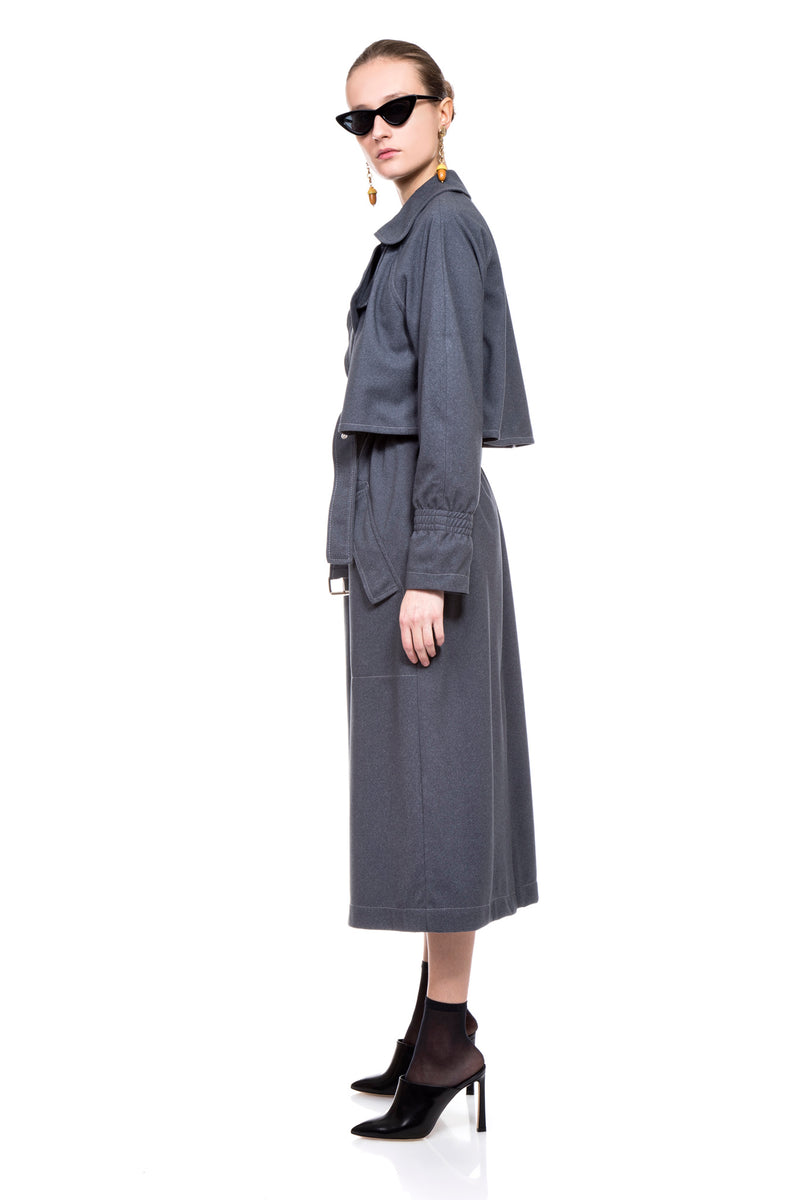 Grey Kelly Trench Coat