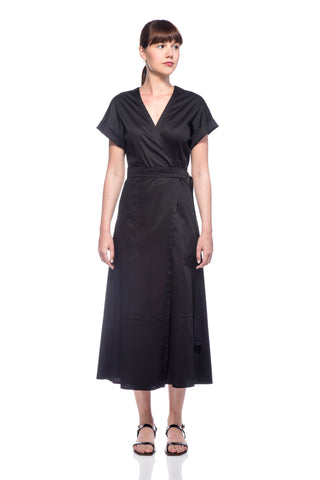 Black Amy Wrap Dress