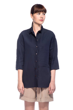 Navy Polly Button Up