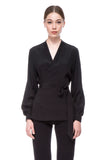 Black Anya Wrap Shirt