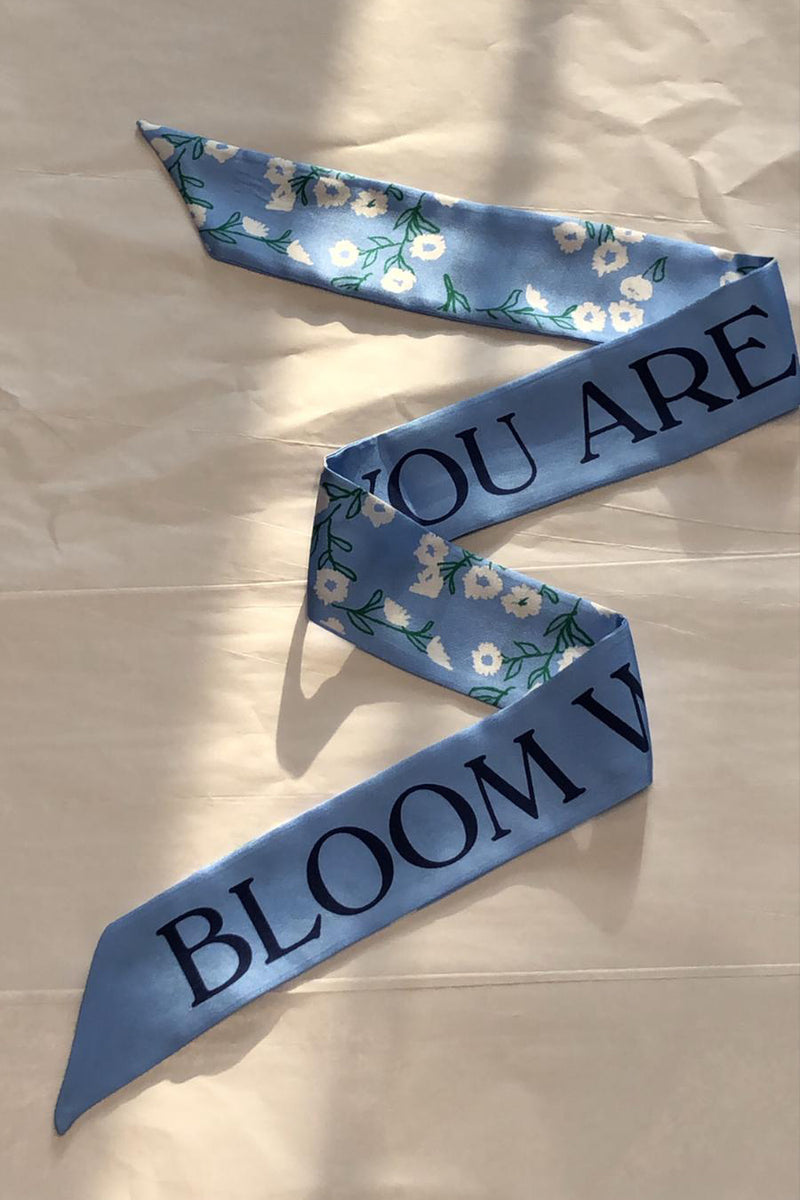 Light Blue Bloom Hair Scarf