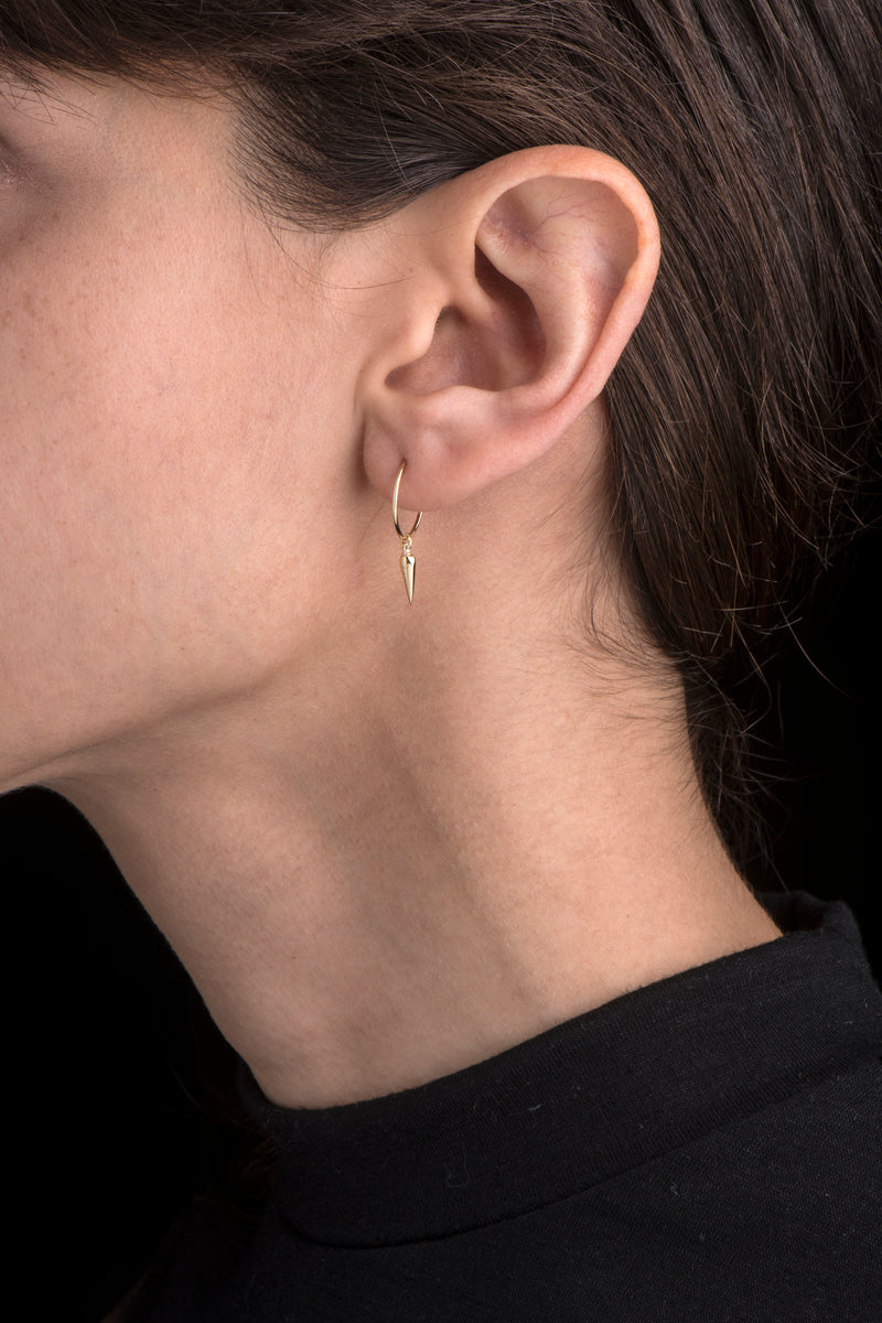 Gold Pendulum Mini-Hoop Earring