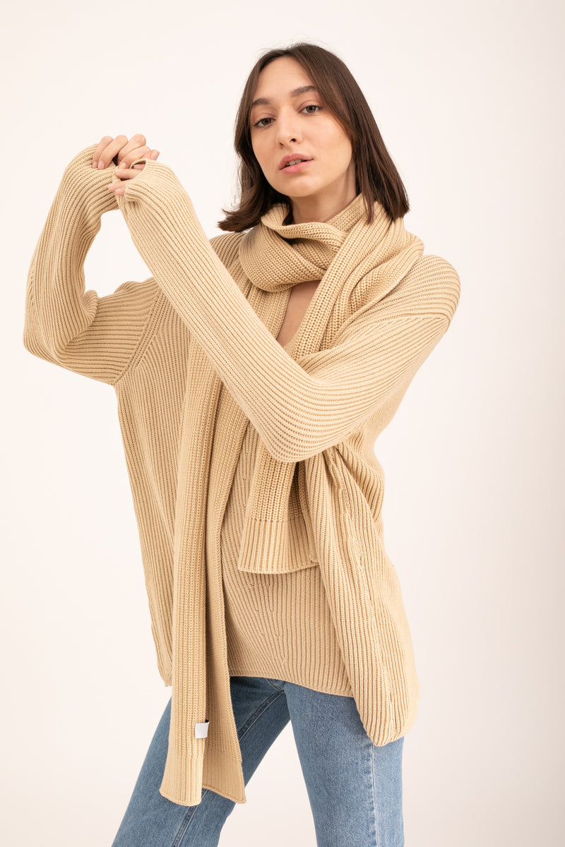 Beige John knitted V neck