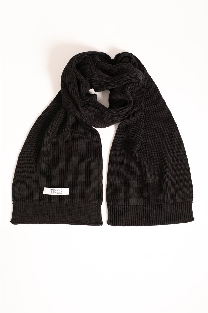 Black knitted scarf