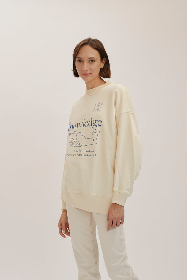 Cream Bookclub Oversize sweatshirt