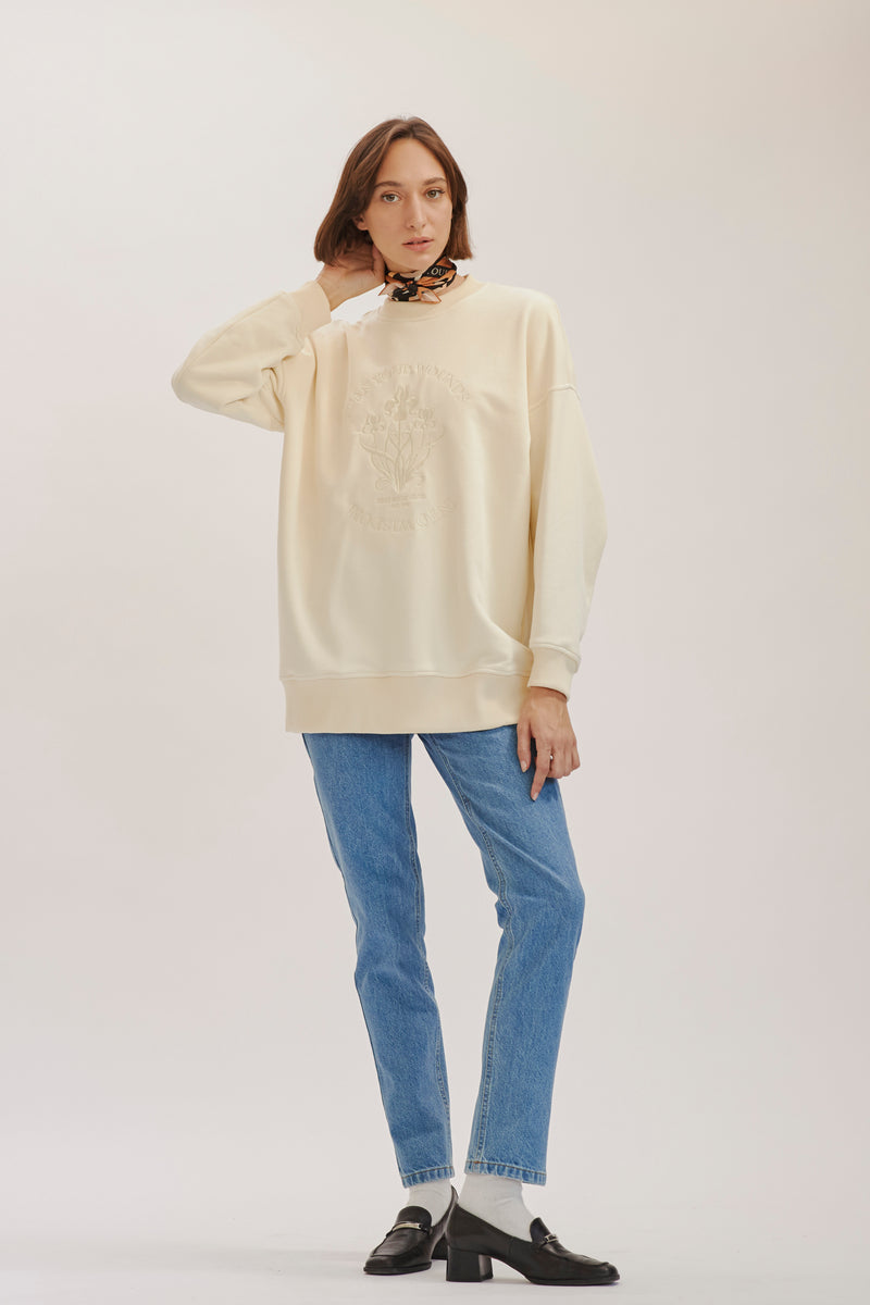 Cream Oversized Sweatshirt  X Story