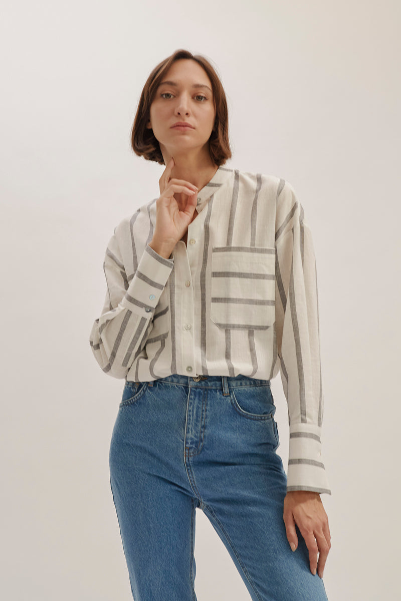 Grey Stripes Dean Blouse
