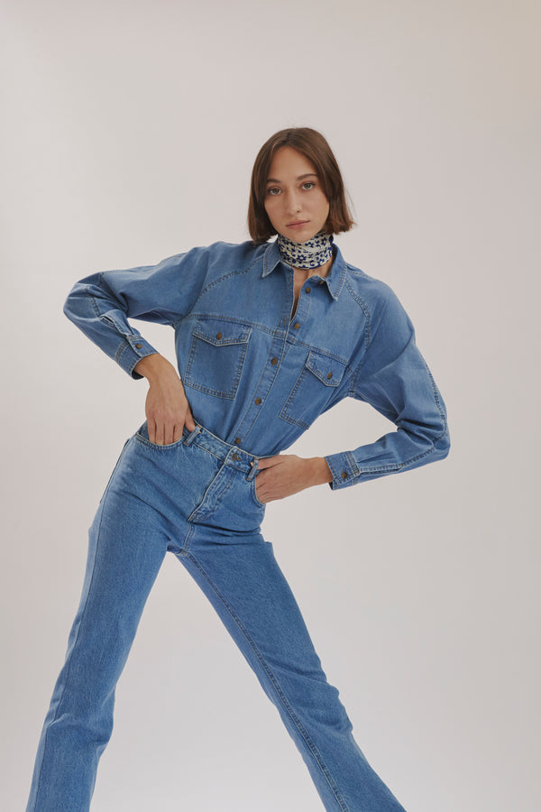 Indigo Blue Denim Shirt X Story