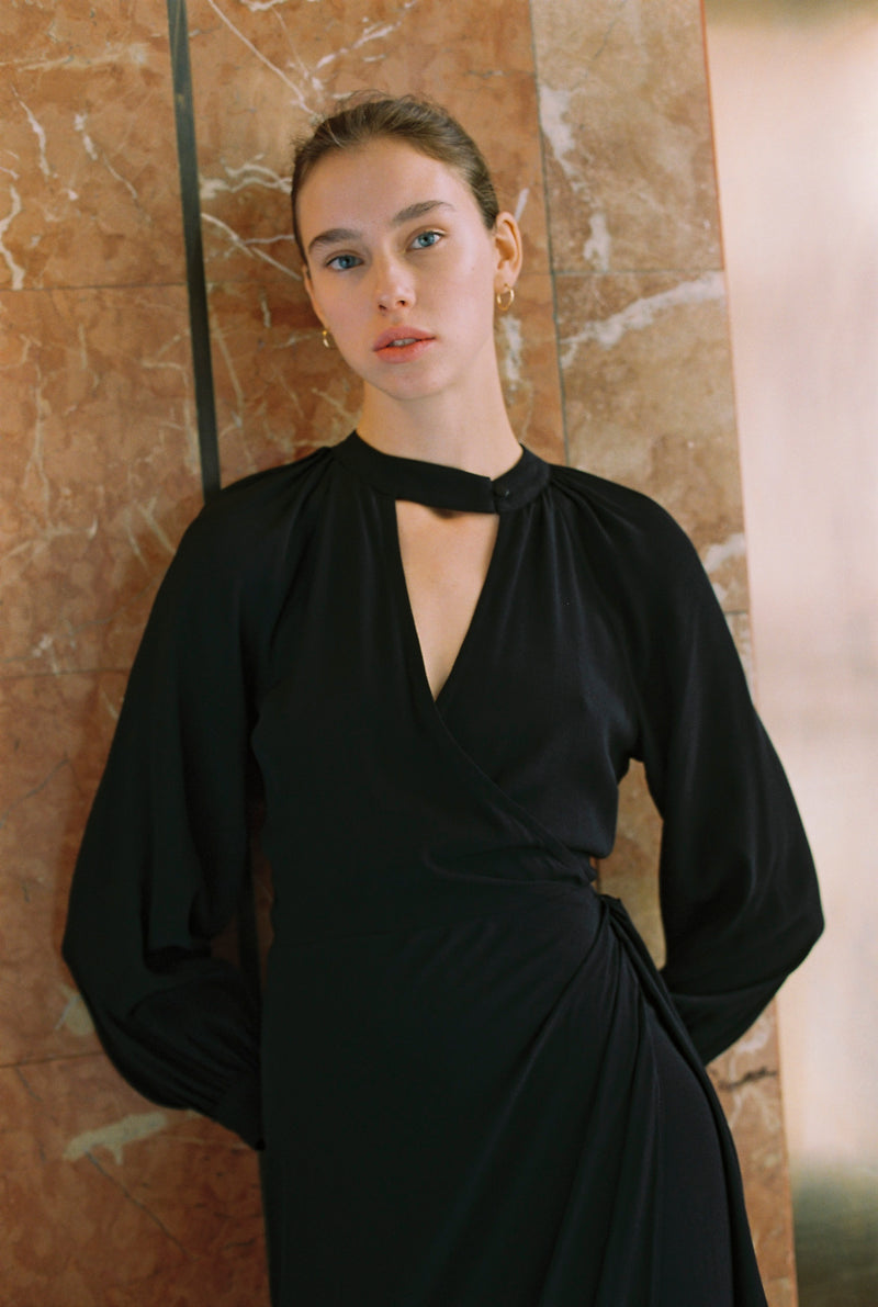 Black Daphne Wrap Dress
