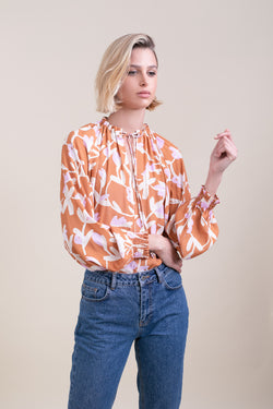 Brown Floral Lillya Blouse