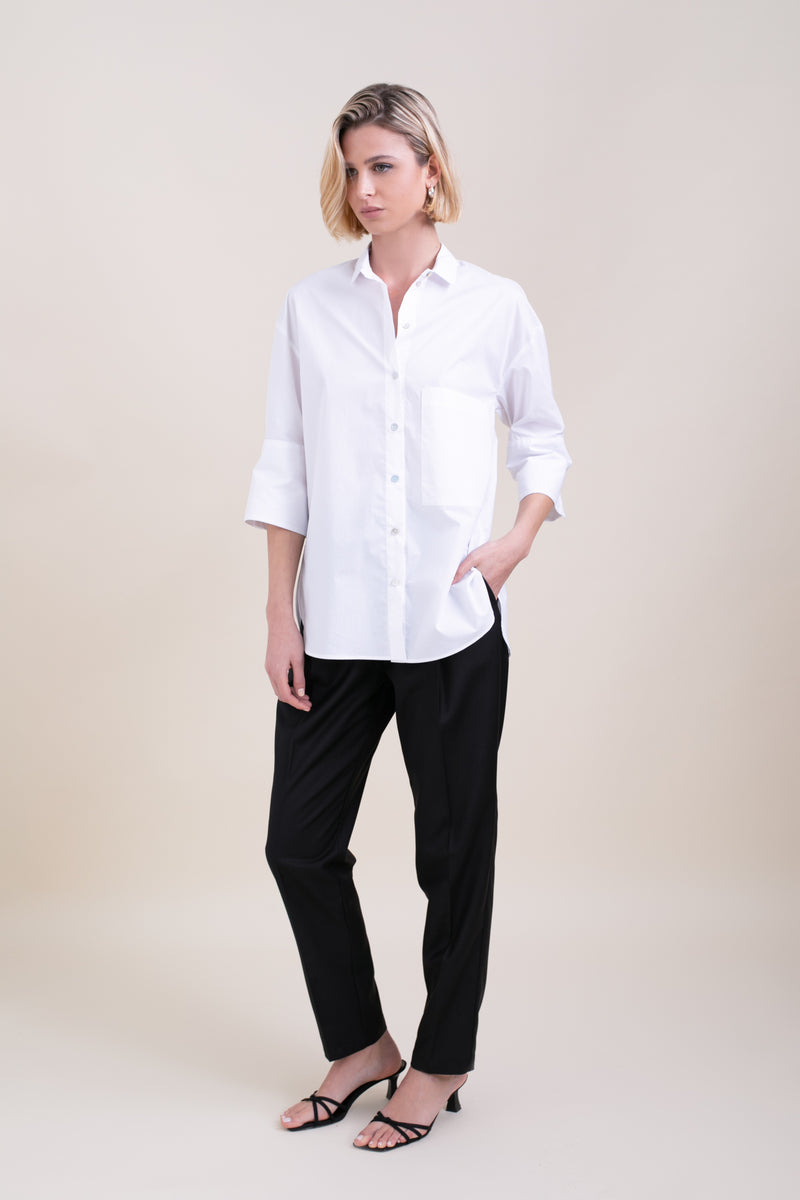 White Polly Button Up