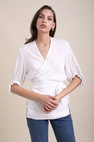 White Annabelle Wrap Blouse