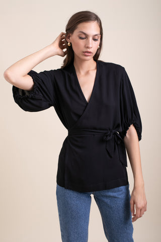 Black Annabelle Wrap Blouse