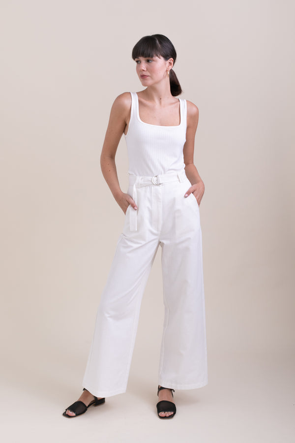 White Leon Wide Leg Pants