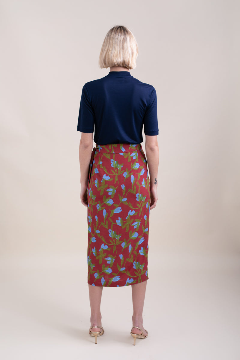 Burgundy Marseille Wrap Skirt