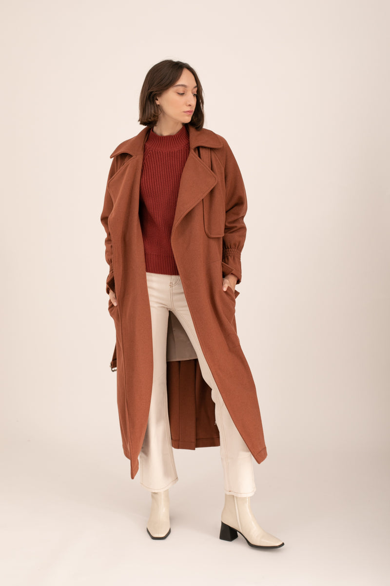 Bordeaux Wool Emily Trench Coat