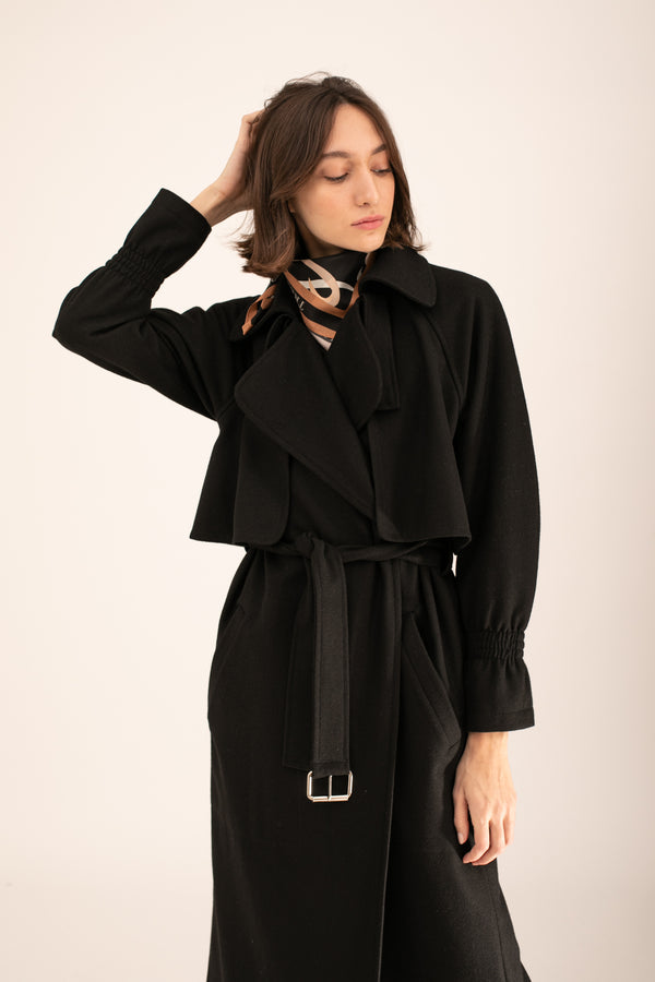 Black wool Emily Trench Coat