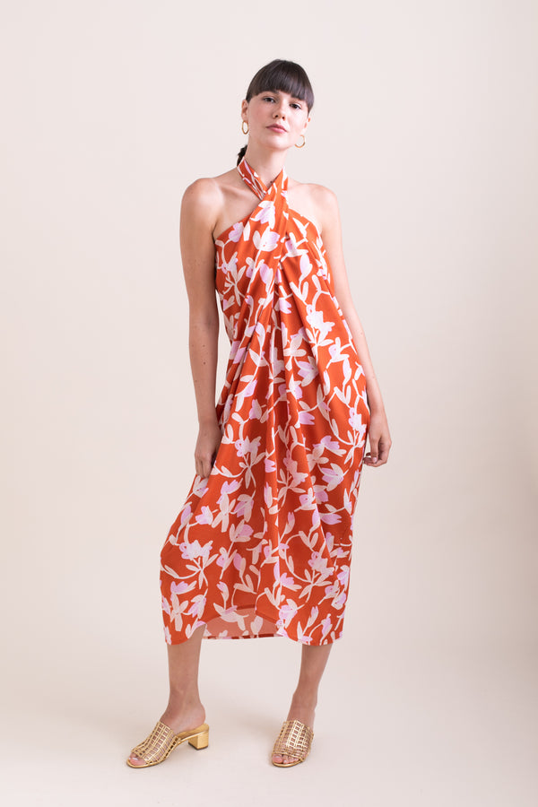 Orange Floral Simon Dress
