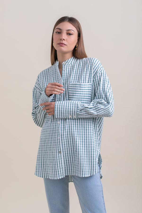Green Stripes Dean Blouse