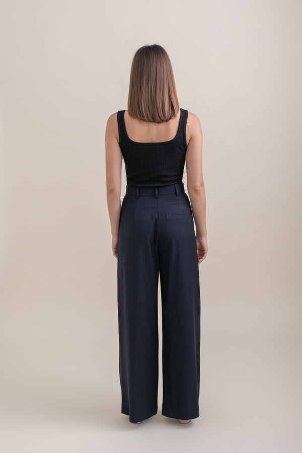 Navy Leon Wide Leg Pants