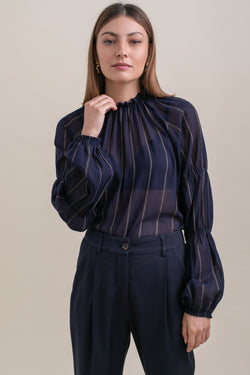 Navy Striped Nicki Blouse