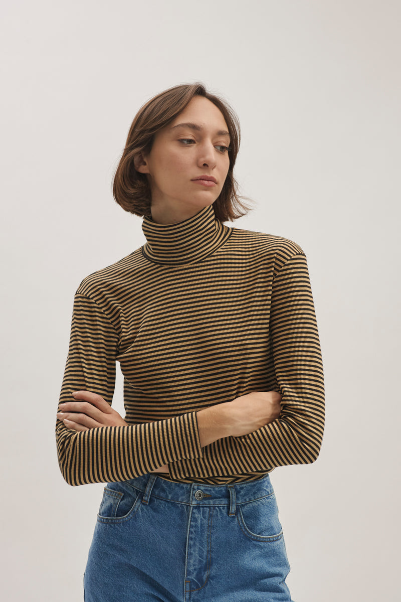 Jill mustered stripes Turtle Neck