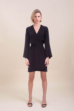 Black Lana Mini Wrap Dress