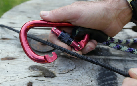 Carabiner with hook - open