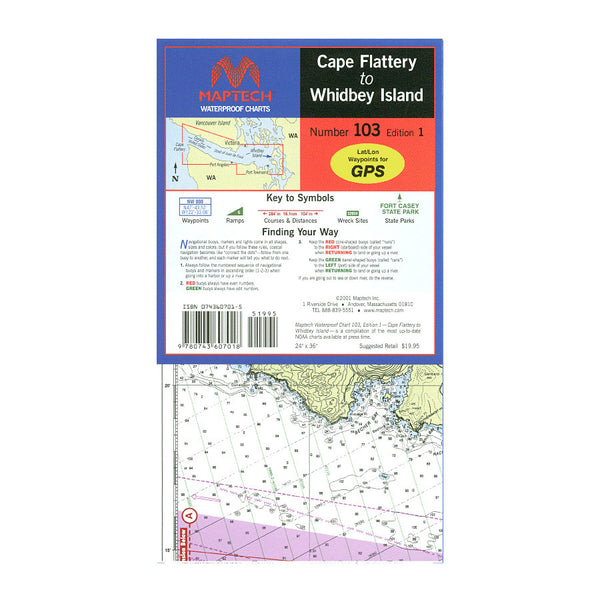 MapTech Waterproof Chart - Cape Flattery to Whidbey Island