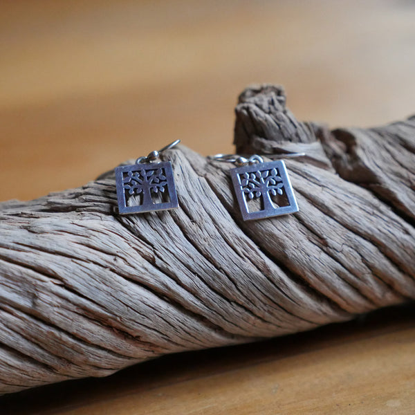 Silverwaves Square Tree Earrings